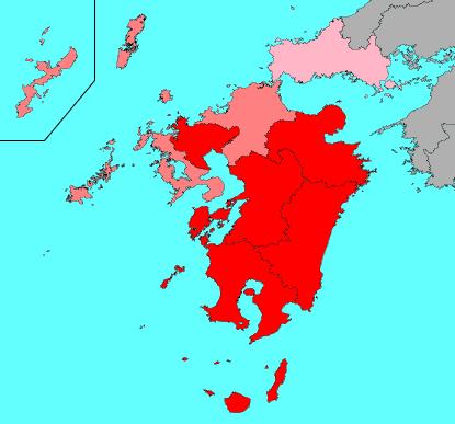 2018年1月第二週のインフルエンザ流行マップ(九州)