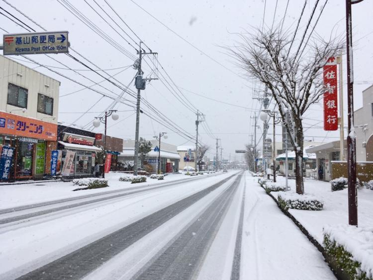 基山町の佐賀銀行前の雪