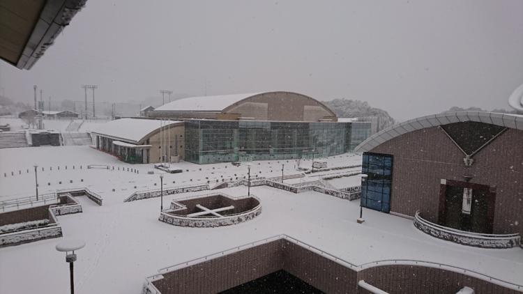基山町総合体育館の雪